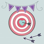 Hit the target - heart and arrows - flag banner