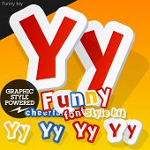Vector font in shape of funny toys or cartoon elements. Letter Y