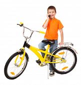boy on bicycle with phone on white