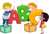 Illustration of Kids Hanging Decor in the Shape of Letters of the Alphabet