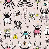 Seamless quirky botanical theme creepy insects bugs spiders and scorpions illustration background pattern in vector