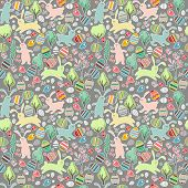 Seamless dark pattern with easter rabbits and spring trees