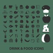 drink, food, cafe, restaurant flat icons, signs, illustrations design concept vector set