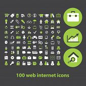 100 web internet icons, signs, illustrations set, vector