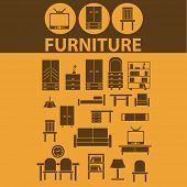 furniture, chair, sofa, cupboard, TV, light, bookshelf flat icons, signs, illustrations design concept vector set