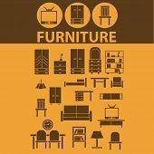 furniture, chair, sofa, cupboard, TV, light, bookshelf flat icons, signs, illustrations design concept vector set