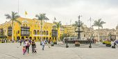 LIMA, PERU, MAY 23, 2014: Plaza Mayor with  the fountain from 1651 in the centerpiece
