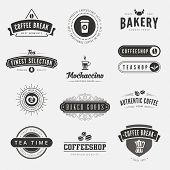 Coffee Retro Vintage Labels Logo design vector typography lettering inspiration templates.  Old style elements, business signs, logos, label, badges, stamps and symbols. Coffeeshop, tea, bakery theme.