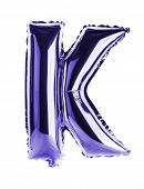 Purple foil balloon letter part of full set in the shape of a capitol K
