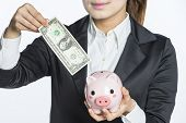 holding a piggy bank with dollars, concept of savings
