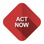 act now flat icon