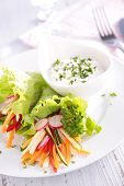 vegetable salad and sauce