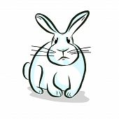 White rabbit hand drawing vector