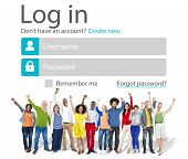 stock photo of accountability  - Casual People Account LogIn Security Protection Concept - JPG