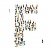 People crowd. Vector ABC, letter F