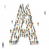 People crowd. Vector ABC, letter A