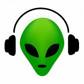 stock photo of alien  - Green alien face wearing earphone - JPG
