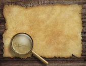 Pirates old treasure map on wooden desk with magnifying glass
