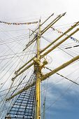 pic of mast  - Mast and guy cables of sailing vessel