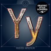 Vector font set of rusted letters. Old school vintage yacht club. Letter Y