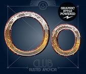 Vector font set of rusted letters. Old school vintage yacht club. Letter O