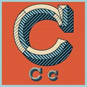 Etched vector font set of engraved letters. Old school beveled alphabet. Character C