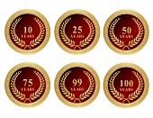 stock photo of 50th  - 10th 25th 50th 75th 99th and 100 anniversary seals with golden laurel and text - JPG
