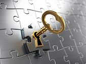 picture of key  - Golden key and puzzle  - JPG