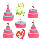 Happy Birthday Cakes Collection with Numbers and Lettering