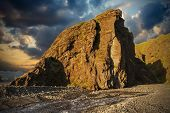 foto of midnight  - Midnight setting sun lits beautifully volcanic rocks at Thorsmork - JPG