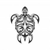picture of tribal  - picture of black and white sea turtle in tribal style isolated on white backgroud - JPG