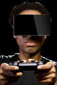 image of controller  - Virtual Reality headset on a black male with video game controller - JPG