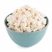 image of popcorn  - Popcorn in a blue bowl on a white background - JPG