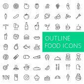 Постер, плакат: Outline food icons set for web and applications