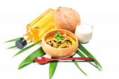 picture of thai cuisine  - Green pork Curry and Coconut - JPG