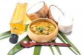pic of thai cuisine  - Green pork Curry and Coconut and coconut milk - JPG
