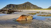 image of lofoten  - Sea coast and mountains on the Lofoten Islands in Norway - JPG