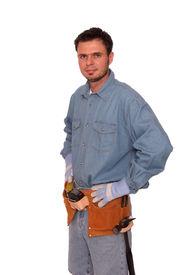 pic of blue-collar-worker  - carpenter ready to build your dream house isolated - JPG