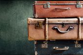 Vintage Stack Ancient Suitcases Concept Travel poster
