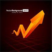 Orange graph  arrow move up vector background