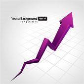 Purple graph arrow move up vector background