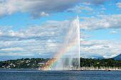 View of Geneva with rainbow