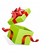 Vector open gift box with glossy red bow vector illustration