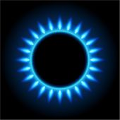Abstract gas stove burning fire circle top view vector background
