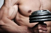 stock photo of body builder  - Athletic man with six - JPG