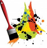 Abstract color spot's background with paintbrush