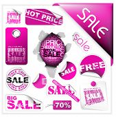 Set of pink sale tickets, labels, stamps, stickers, corners, tags
