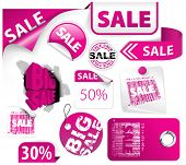 Set of pink discount tickets, labels, stamps, stickers, corners, tags