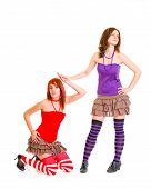 Strict girl refusing her pleading girlfriend isolated on white