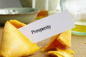 stock photo of confucious  - fortune cookie closeup with paper  - JPG